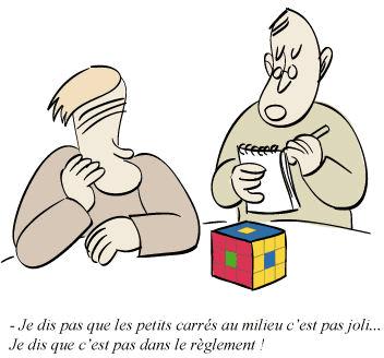 Rubik's Cube : prettypattern. Bande dessinée. Je dis pas que les petits carrés au milieu c'est pas joli... Je dis que c'est pas dans le réglement !